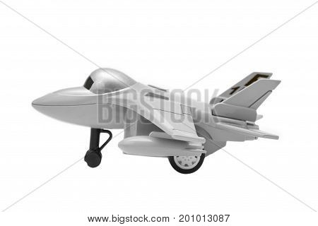Model of a fighter jet toy isolated on white background.