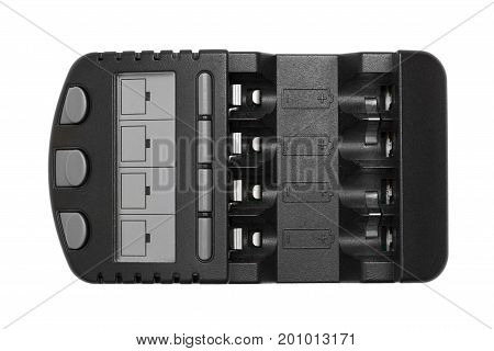 Black Rechargeable Battery Charger Isolated On White Background.