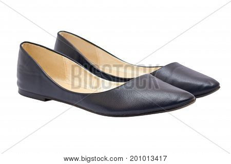 Women's blue leather shoes isolated on white background.