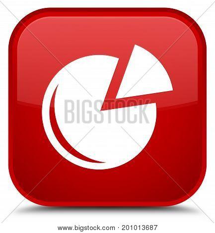 Graph Icon Special Red Square Button