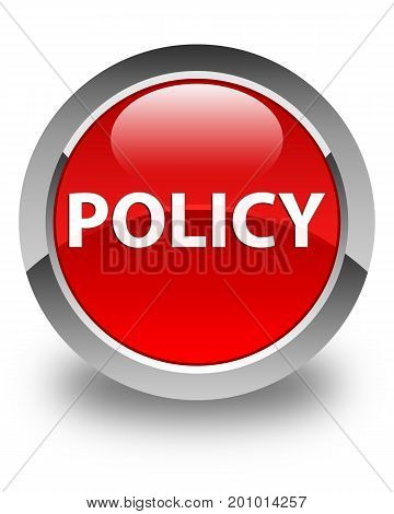 Policy Glossy Red Round Button