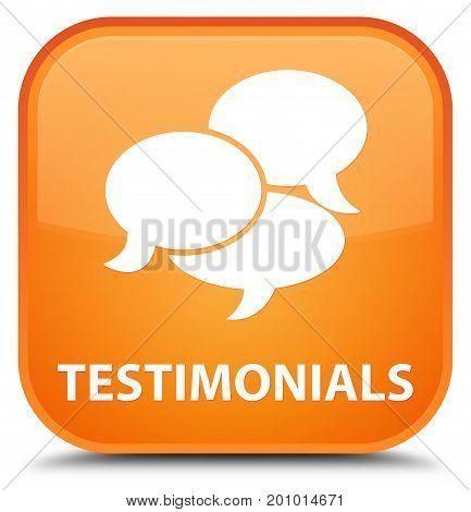 Testimonials (comments Icon) Special Orange Square Button