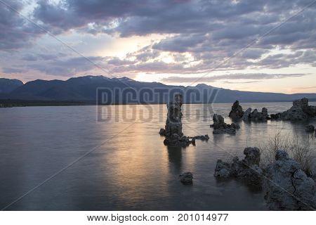 Sunset Reflecting In Mono Lake
