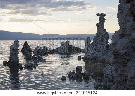 Rock Formations At Sunset Of Mono Lake
