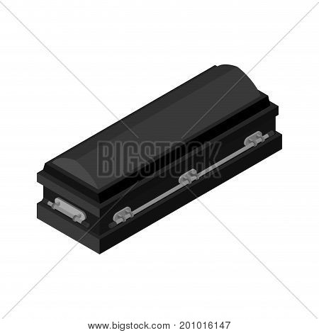 Black Coffin Closed Isolated. Casket On White Background