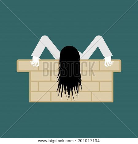 Witch Zombie Isolated. Zombie Girl With Long Hair. Illustration For Halloween