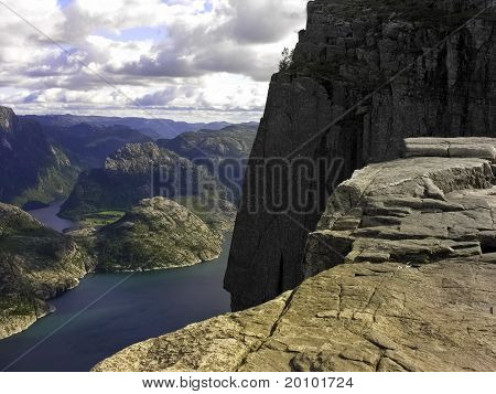 Preikestolen pulpit-rock view in Norway fjord landscape poster