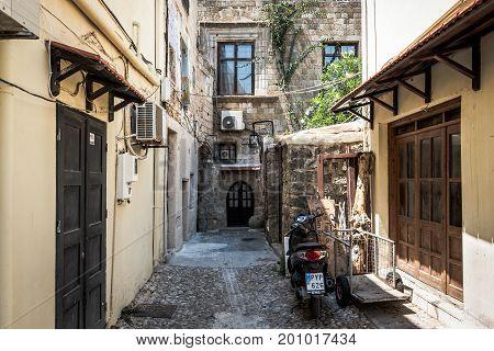 RHODES, GREECE - AUGUST 2017: Small inner yard of Rhodes town on Rhodes island, Greece