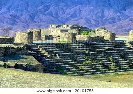 Monte Alban Sunken Patio ruins in Oaxaca Mexico