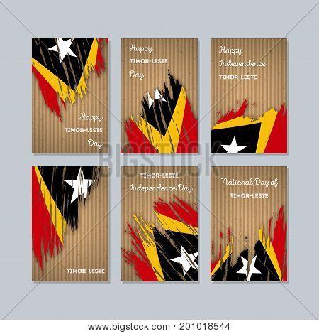Timor-leste Patriotic Cards For National Day. Expressive Brush Stroke In National Flag Colors On Kra