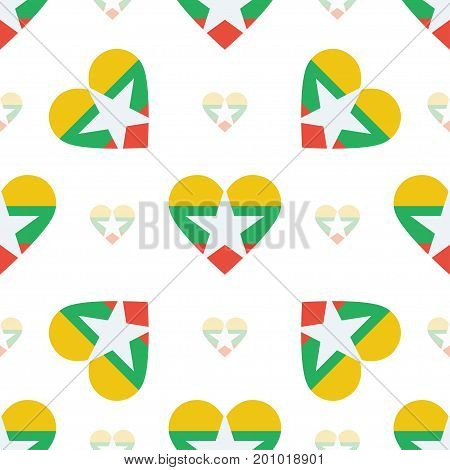 Myanmar Flag Heart Seamless Pattern. Patriotic Myanmar Flag Background. Country Flag In The Shape Of