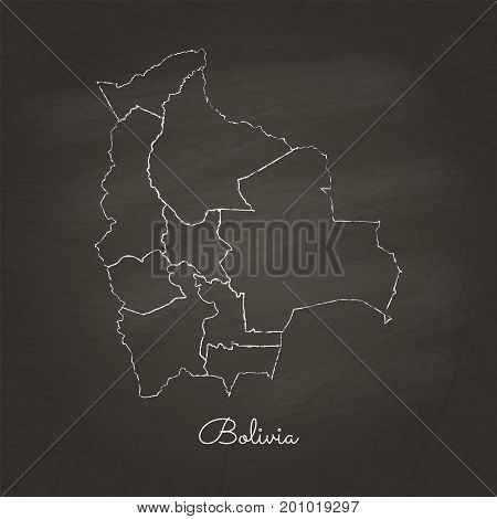 Bolivia Region Map: Hand Drawn With White Chalk On School Blackboard Texture. Detailed Map Of Bolivi