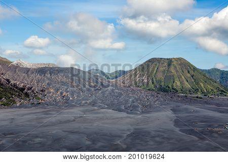 Ash Dunes, Bromo And Batok Volcanoes In Caldera Tengger At Java Island In Indonesia.