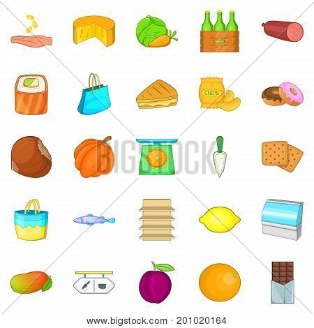 Cheese shop icons set. Cartoon set of 25 cheese shop vector icons for web isolated on white background