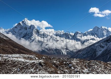 Beautiful Panoramic Mountain View Of Ama Dablam Summit On The Famous Everest Base Camp Trek In Himal