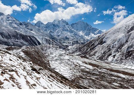 Himalaya Mountains Valley In Snow. Sagarmatha National Park, Himalaya Mountains, Nepal. Beautiful La