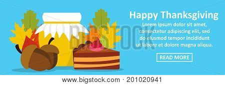 Happy thanksgiving banner horizontal concept. Flat illustration of happy thanksgiving banner horizontal vector concept for web
