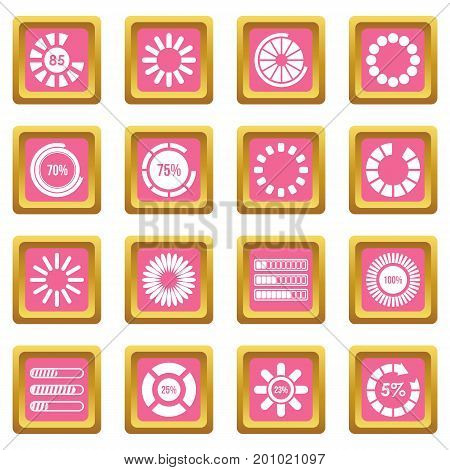 Loading bars and preloaders icons set in pink color isolated vector illustration for web and any design