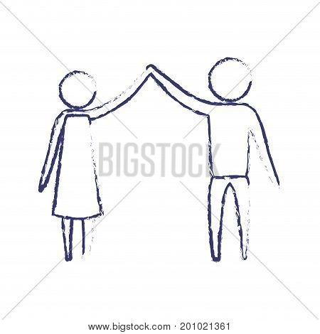 blurred blue silhouette of pictogram couple clashing hands in clothes vector illustration