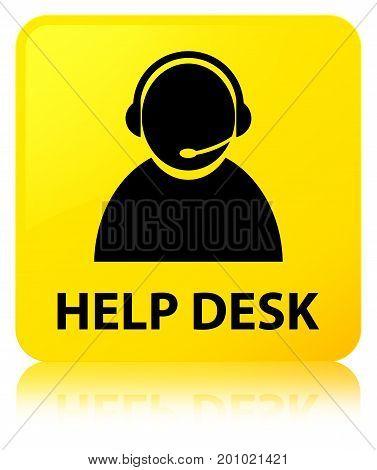 Help Desk (customer Care Icon) Yellow Square Button