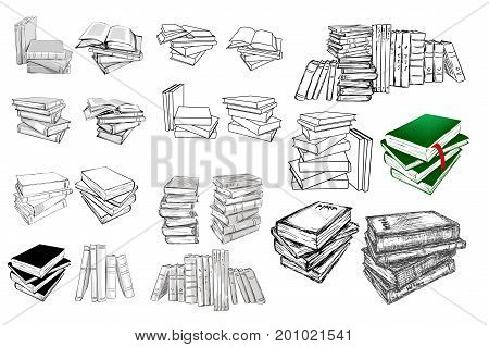 Books set. Opened and closed books, stacked books and single book isolated on white background. Linear and sketch illustration