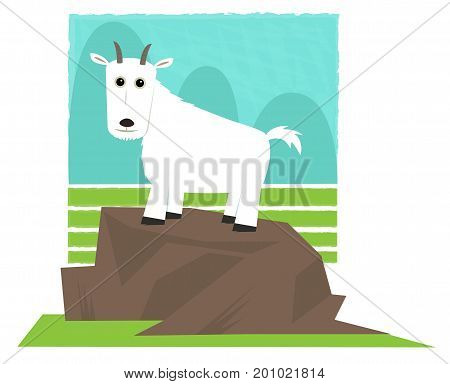 Clip art of a mountain goat standing on a rock. Eps10