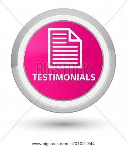 Testimonials (page Icon) Prime Pink Round Button