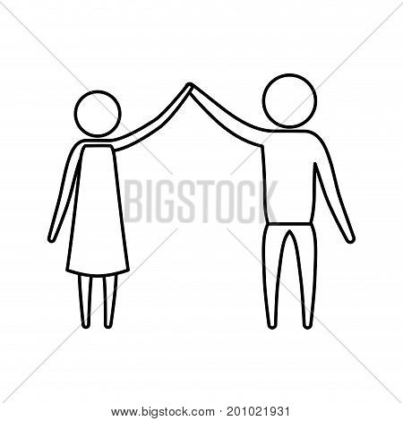 sketch silhouette of pictogram couple clashing hands in clothes vector illustration