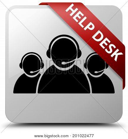 Help Desk (customer Care Team Icon) White Square Button Red Ribbon In Corner