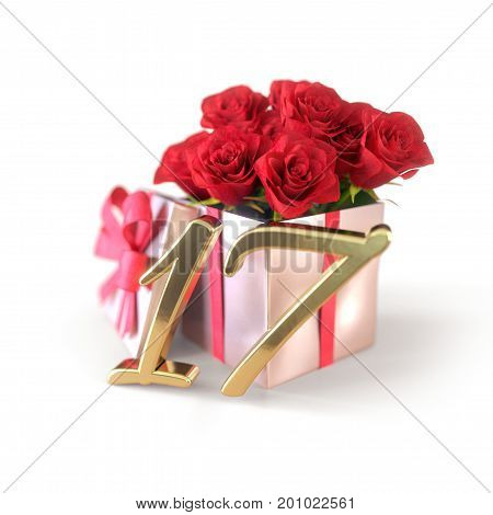 birthday concept with red roses in gift isolated on white background. 3D render - seventeenth birthday. 17th