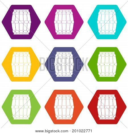 Wooden barrel icon set many color hexahedron isolated on white vector illustration