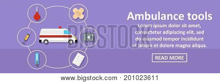 Ambulance tools banner horizontal concept. Flat illustration of ambulance tools banner horizontal vector concept for web