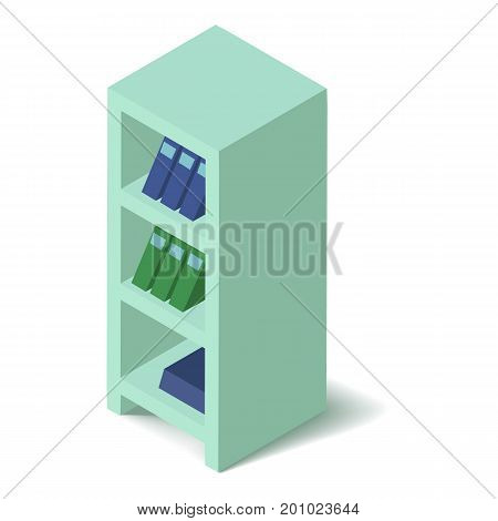 Bookcase icon. Isometric illustration of bookcase vector icon for web