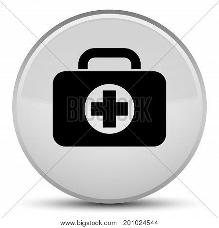 First Aid Kit Bag Icon Special White Round Button