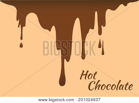 Melted brown hot chocolate flow down. Vector illustration