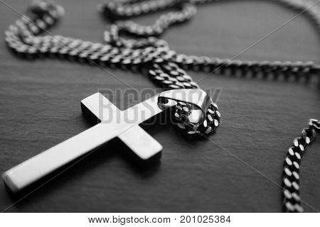 Catholic Cross In Black & White High Quality