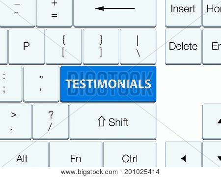 Testimonials Blue Keyboard Button
