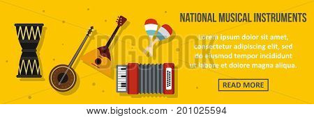 National musical instruments banner horizontal concept. Flat illustration of national musical instruments banner horizontal vector concept for web