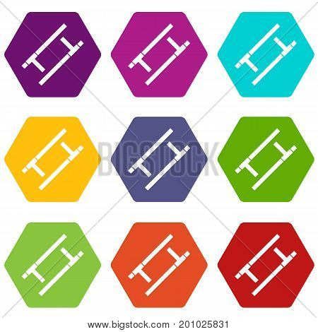 Tonfa icon set many color hexahedron isolated on white vector illustration