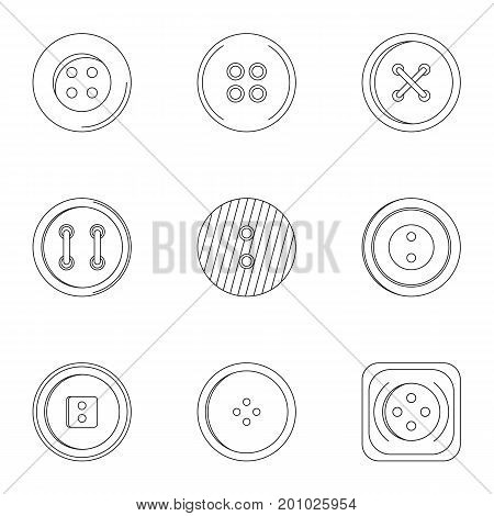Clothes button icon set. Outline set of 9 clothes button vector icons for web isolated on white background