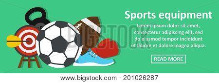 Sport equipment banner horizontal concept. Flat illustration of sport equipment banner horizontal vector concept for web