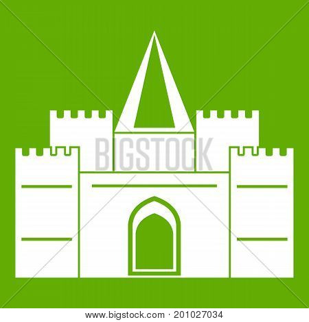 Residential mansion with towers icon white isolated on green background. Vector illustration