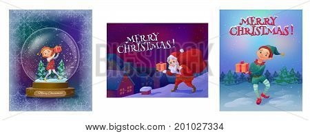 Christmas greeting cards collection with elf girl in snow globe, elf boy in the woods and santa on the roof with gifts, cartoon characters set, winter holidays background, vector illustration