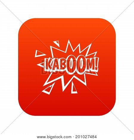 Kaboom, explosion icon digital red for any design isolated on white vector illustration