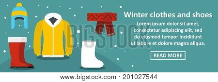 Winter clothes and shoes banner horizontal concept. Flat illustration of winter clothes and shoes banner horizontal vector concept for web