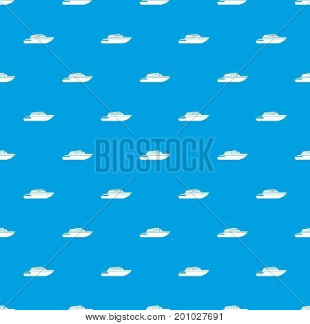 Planing powerboat pattern repeat seamless in blue color for any design. Vector geometric illustration