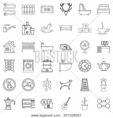 Cozy home icons set. Outline style of 36 cozy home vector icons for web isolated on white background