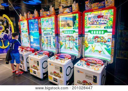 TOKYO, JAPAN JUNE 28 - 2017: Capsule-toy vending machine or Gashapon in Japanese language located in Akihabara district in Tokyo, Japan.