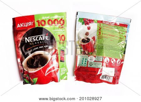 Kiev, Ukraine - July 11, 2016: Nescafe is a brand multinational food and beverage company, first introduced on April 1, 1938.