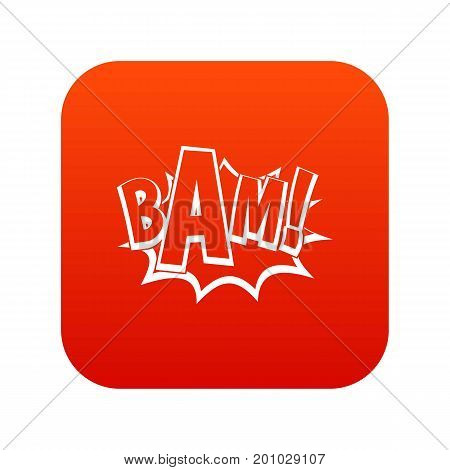 BAM, comic book bubble icon digital red for any design isolated on white vector illustration